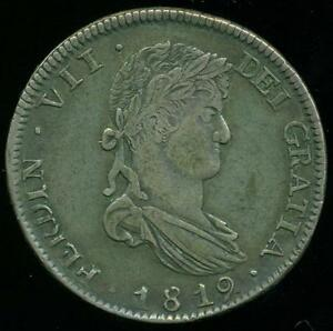 ZACATECAS MINT MEXICO 8 EIGHT REALES 1819 R.G. STRONG XF- REALLY NICE TONED RARE