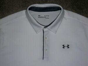 Men's NWOT UNDER ARMOUR HG Loose Polo XL WHITE w/Dark Gray UA Logos ~ Polyester