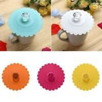 Silicone Cute Anti-dust Glass Diamond Cup Cover Coffee Mug Suction Seal Lid