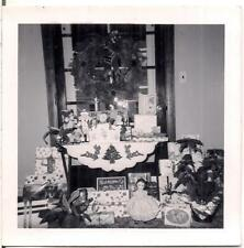 Christmas Window Wreath Table Decor Gifts Presents Doll Poinsettia Vintage Photo