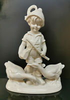 9924001-ds Porzellan Figur Junge mit Gänsen weiß Wagner&Apel H22cm