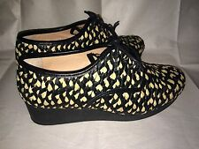 NWOB $425 Robert Clergerie Black and Natural Raffia Leather Wedge Oxfords 40/9.5