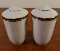Noritake Salt and Pepper Shakers Cobalt Blue Band Decorative Gold Trim