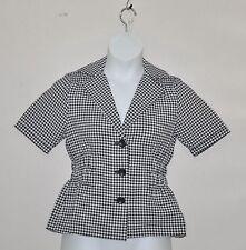 Joan Rivers Gingham Short Sleeve Signature Jacket Size XS Black/White