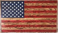 Rustic Wooden American Flag Charred/Burnt