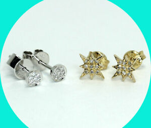 Bony Levy Pave Mika & Petite Northern Star stud earrings 18K 2 pair set studs