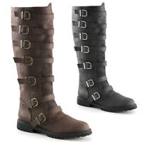 Womens Fashion Round Toe Buckle Strap Chunky Low Heels Knee High Riding Boots