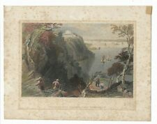 1839 Antique Hand-colored Engraving, Villa on the Hudson, W.H. Bartlett Print