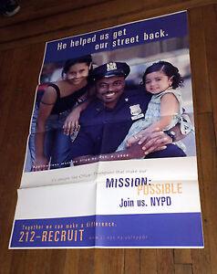 NYPD 2000 SUBWAY RECRUITMENT POSTER RARE POLICE