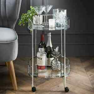 Gold / Silver Drinks Trolley With Glass Shelves Mini Bar Cocktail Table -