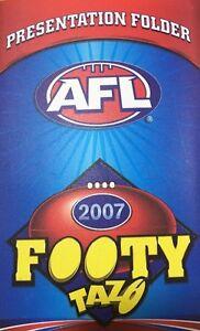 Complete Set Of 2007 AFL Common Tazos + Footy Presentation Folder