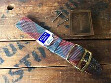 20mm Perlon Tartan Mesh Dive Watch Strap 1960s NOS Vintage Watch Band Red & Grey