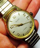Vintage Elgin Gold Filled Men's Wrist Watch 17 Jewels Round Day Runs Flex Band