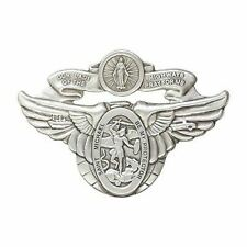 Antique Silver Tone Our Lady of The Highway / St Michael Visor Clip