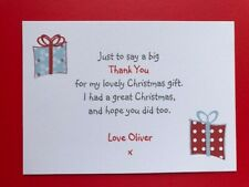 10 Personalised Christmas Thank You Cards - Kids Childrens Boys Girls- Postcard