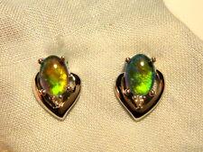 Opal Earrings 14ct White Gold & Diamond Stud.Triplet Opals 7 x5 Oval. item 60920
