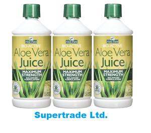 3 X Aloe Pura Aloe Vera Juice Maximum Max Strength Balanced Formulation 1 Litre
