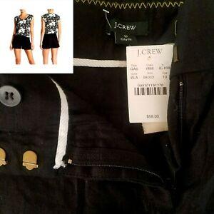 J. Crew Ladies Size 10 Pleated Shorts Black Cuffed Tie Belt 100% Linen NWT $58