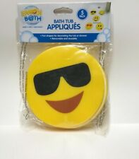 Ginsey Home Solutions Emoji Bath Tub Appliques Yellow Removable 5 Pack *NEW*
