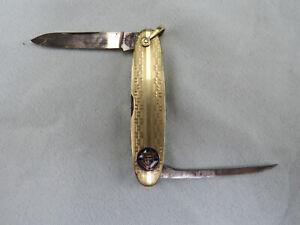 Remington UMC Gold Lobster Pen Knife Knights of Columbus K of C Logo 1921-1924