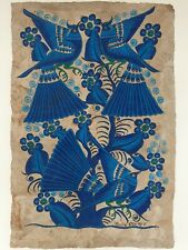 Vintage Mexican Folk art Amate Bark Painting Birds Blue