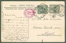 Storia Postale. REGNO. VALORI GEMELLI. Cartolina da Roma a Napoli affrancata ...