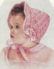 Vintage Knitting PATTERN to make Baby Toddler Smocked Bonnet Angora KnitSmocked