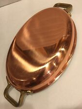 TAGUS ELITE PORTUGAL COPPER COOKWARE  LARGE CASSEROLE HEAVY DUTY BRASS HANDLES