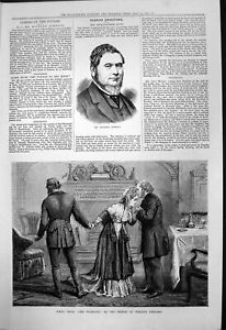 Antique Old Print Richard Johnson Scene Vicarage Prince Wales Theatre 1877 19th