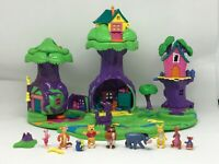 🦉POLLY POCKET Winnie The Pooh 100 Acre Wood Play Set All 10 Figures Complete 💎
