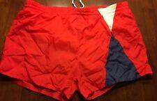 Rare Mens Vtg 1970s Ocean Isle Shorts Swim Trunks Red & Blue Geometric Size Xl