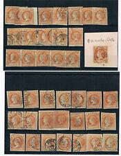 España. 40 sellos del 4 ctos amarillo con parejas y tira de 4 y de 5