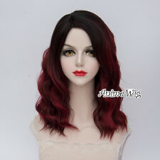 Lolita Style Medium 40CM Black Mixed Wine Red Curly Fashion Anime Cosplay Wig