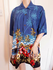 "Karmakula Hawaiian Men's Vintage Shirt Palm Trees Parrots Size 3 Chest 48"""