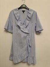 Topshop size 12 Dress Blue White Stripe Pinstripe Wrap Ruffle Summer Holiday