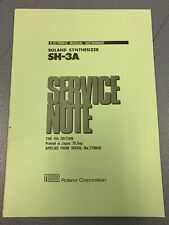 Vintage 1975 Roland SH-3A Synthesizer Original Service Notes Manual