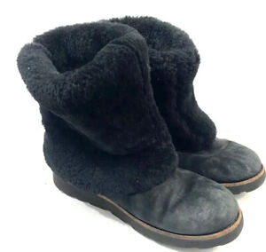 UGG Maylin Boots Size 8 Womens Black Sheepskin Suede Leather Pull On Shearling