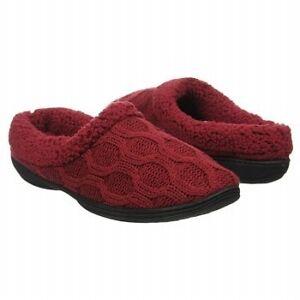 "NEW Women's Dearfoams ""Sweater Knit Clog"" -size SMALL (5/6) Redwine maroon scuff"