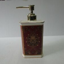 Macy's Charter Club Home Filigree Design Soap Dispenser Red Ivory Gold Trim