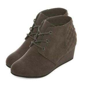 AriZona Toddler / Youth Girls Spice Gray Wedge Heel Lace Up Boots Footwear New