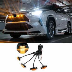 For Toyota RAV4 2019-2021 Front bumper Grille LED Light Raptor Style Grill Cover