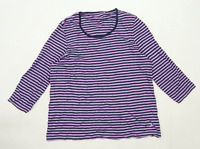 Dash Womens Size 16 Striped Cotton Purple Long Sleeve T-Shirt (Regular)