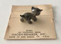 Hagen Renaker Tiny Grey Brown Tabby Kitty Cat Kitten on Card 1981 San Dimas USA