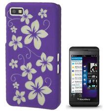 Hardcase Gravur Style Schutzhülle für BlackBerry Z10 Blumen lila Hülle Cover