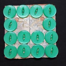 Vintage Button Set on Card of 7 Pale Green Plastic Buttons 19 mm 3/4 in diameter