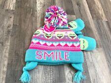 Children's Place Girls Toddler Winter Hat Beanie Mittens Set Emoji Size S 12-24m