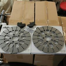 2 MANHATTAN ROTORS 4 HARLEY TOURING 08-up INCLUDES KEVLAR PADS & HARDWARE