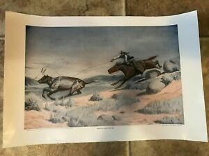 """Will James Lithograph Print Roping A Range Critter 11.25"""" x 17.75""""  Scribner"""
