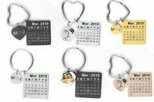 Personalized Photo Calendar Keychain Date Engrave Keyring Gift Custom Family