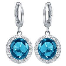 Women Fashion 925 Silver Aquamarine Dangle Drop Earrings Wedding Jewelry Gift